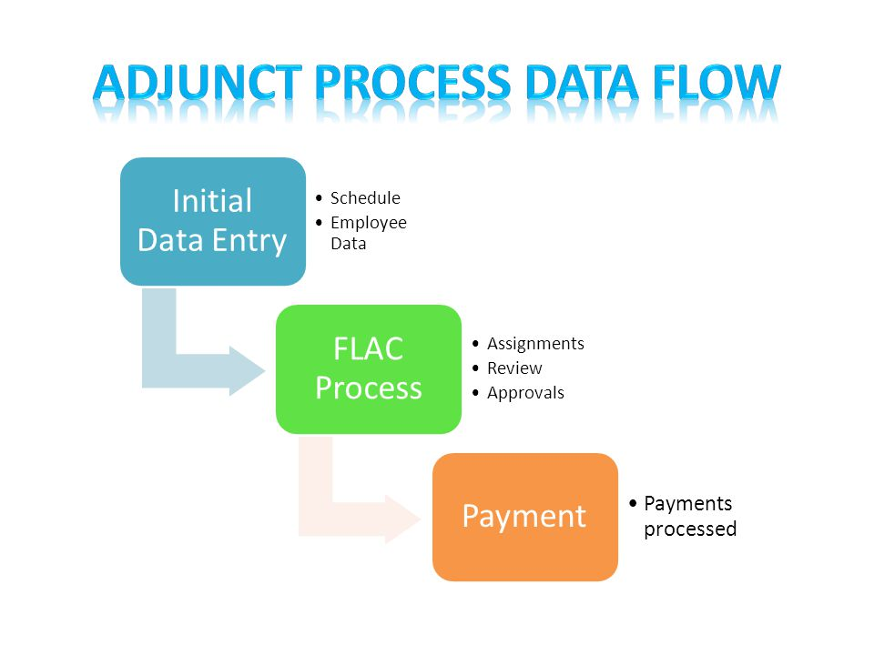 Initial Data Entry Schedule Employee Data FLAC Process Assignments Review Approvals Payment Payments processed