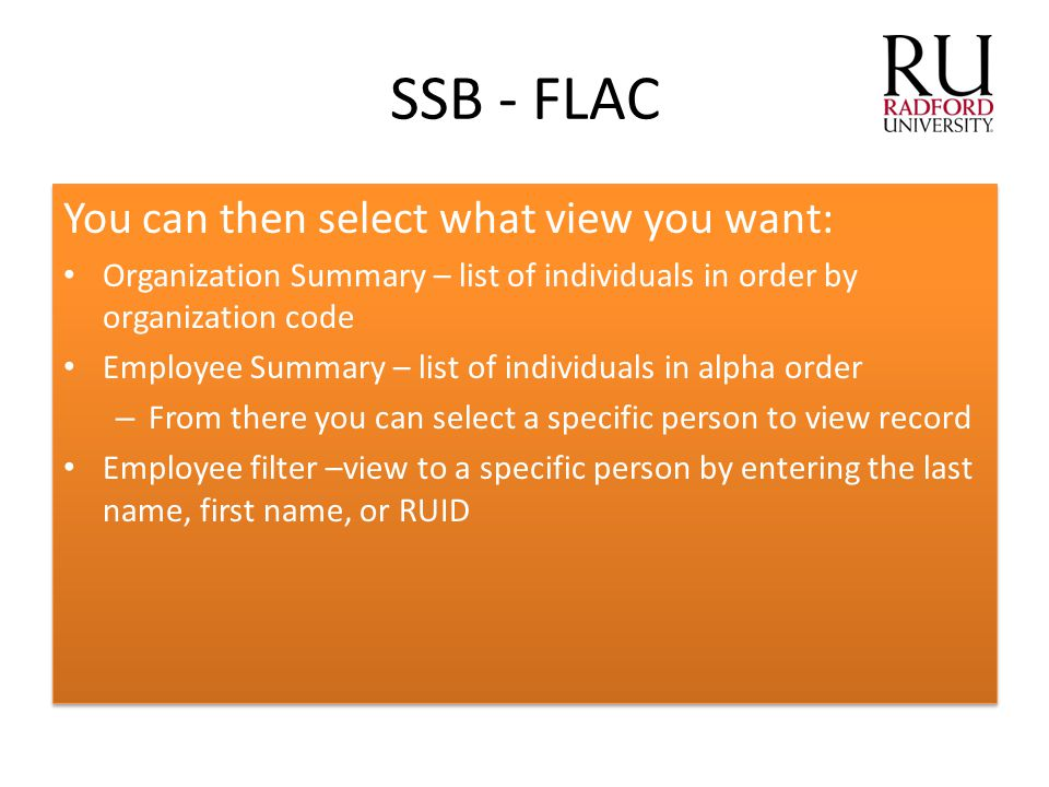 You can then select what view you want: Organization Summary – list of individuals in order by organization code Employee Summary – list of individual
