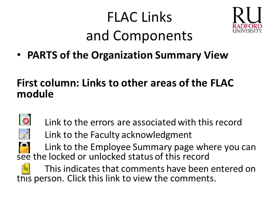 FLAC Links and Components PARTS of the Organization Summary View First column: Links to other areas of the FLAC module Link to the errors are associat