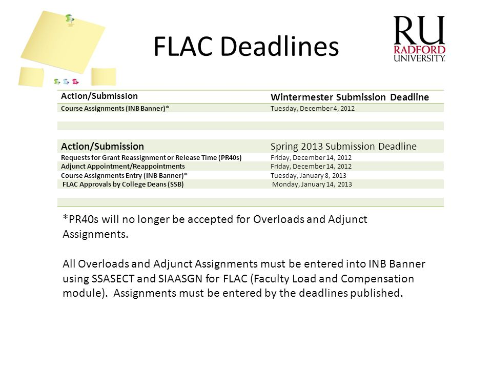 FLAC Deadlines *PR40s will no longer be accepted for Overloads and Adjunct Assignments. All Overloads and Adjunct Assignments must be entered into INB