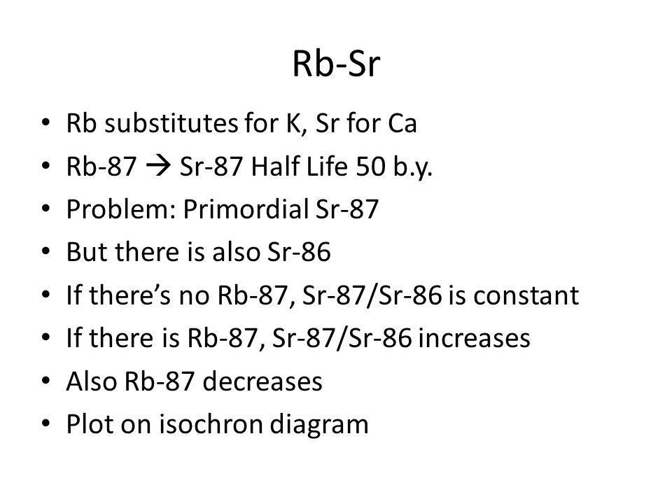 Rb-Sr Rb substitutes for K, Sr for Ca Rb-87 Sr-87 Half Life 50 b.y. Problem: Primordial Sr-87 But there is also Sr-86 If theres no Rb-87, Sr-87/Sr-86