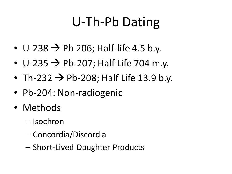 U-Th-Pb Dating U-238 Pb 206; Half-life 4.5 b.y. U-235 Pb-207; Half Life 704 m.y. Th-232 Pb-208; Half Life 13.9 b.y. Pb-204: Non-radiogenic Methods – I