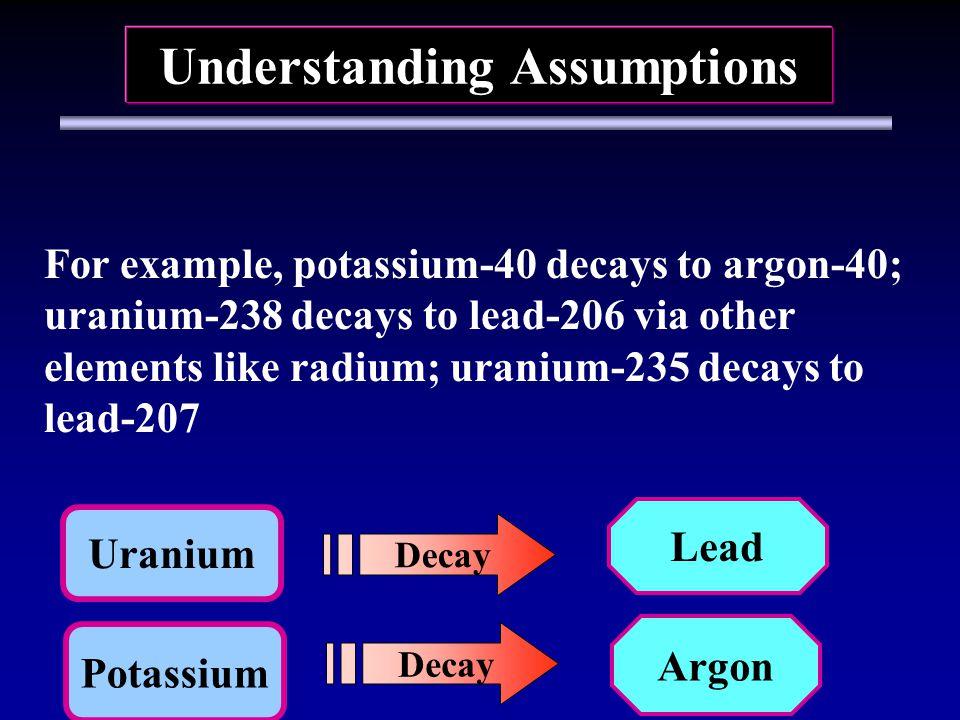 Potassium Argon Decay Understanding Assumptions Uranium Decay Lead For example, potassium-40 decays to argon-40; uranium-238 decays to lead-206 via other elements like radium; uranium-235 decays to lead-207
