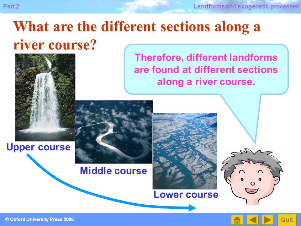 Part 2 Quit © Oxford University Press 2006 Landforms and exogenetic processes What are the different sections along a river course.