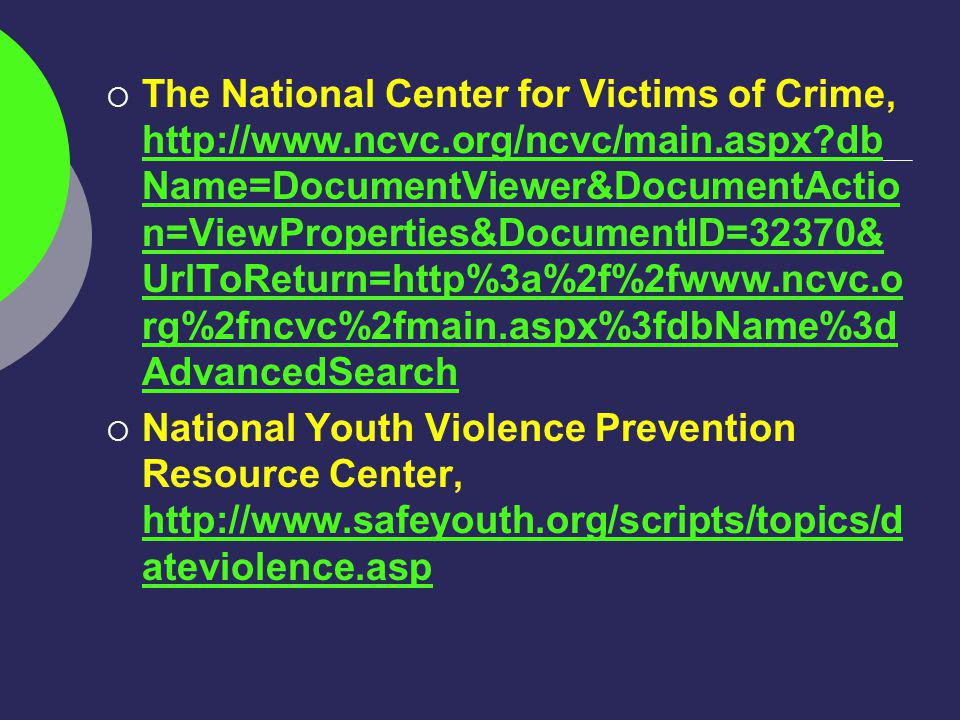 The National Center for Victims of Crime,   db Name=DocumentViewer&DocumentActio n=ViewProperties&DocumentID=32370& UrlToReturn=http%3a%2f%2fwww.ncvc.o rg%2fncvc%2fmain.aspx%3fdbName%3d AdvancedSearch   db Name=DocumentViewer&DocumentActio n=ViewProperties&DocumentID=32370& UrlToReturn=http%3a%2f%2fwww.ncvc.o rg%2fncvc%2fmain.aspx%3fdbName%3d AdvancedSearch National Youth Violence Prevention Resource Center,   ateviolence.asp   ateviolence.asp