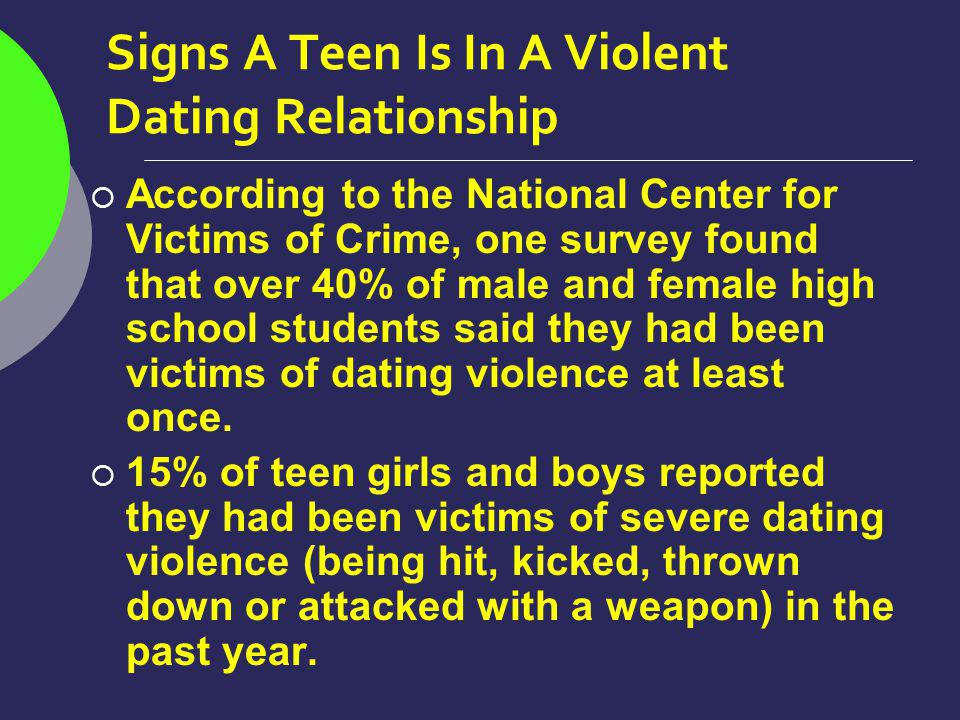 Signs A Teen Is In A Violent Dating Relationship According to the National Center for Victims of Crime, one survey found that over 40% of male and female high school students said they had been victims of dating violence at least once.