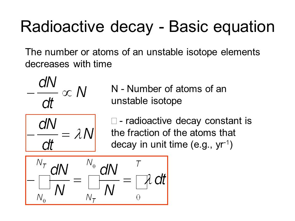 Radioactive decay - Basic equation - radioactive decay constant is the fraction of the atoms that decay in unit time (e.g., yr -1 ) N - Number of atoms of an unstable isotope The number or atoms of an unstable isotope elements decreases with time