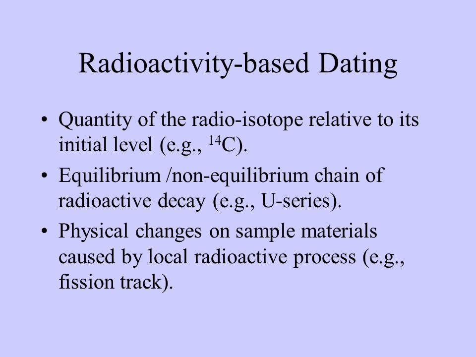 Radiocarbon Dating 12 C: 42*10 12 ; 13 C: 47*10 10 ; 14 C: 62 tons t 1/2 = 5730 yr = 1.0209*10 -4 /yr Formed in the atmosphere: 14 N + 1 n 14 C + 1 H Decay: 14 C 14 N + -