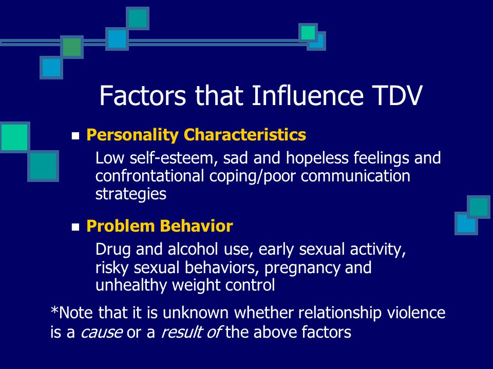 Factors that Influence TDV Personality Characteristics Low self-esteem, sad and hopeless feelings and confrontational coping/poor communication strategies Problem Behavior Drug and alcohol use, early sexual activity, risky sexual behaviors, pregnancy and unhealthy weight control *Note that it is unknown whether relationship violence is a cause or a result of the above factors