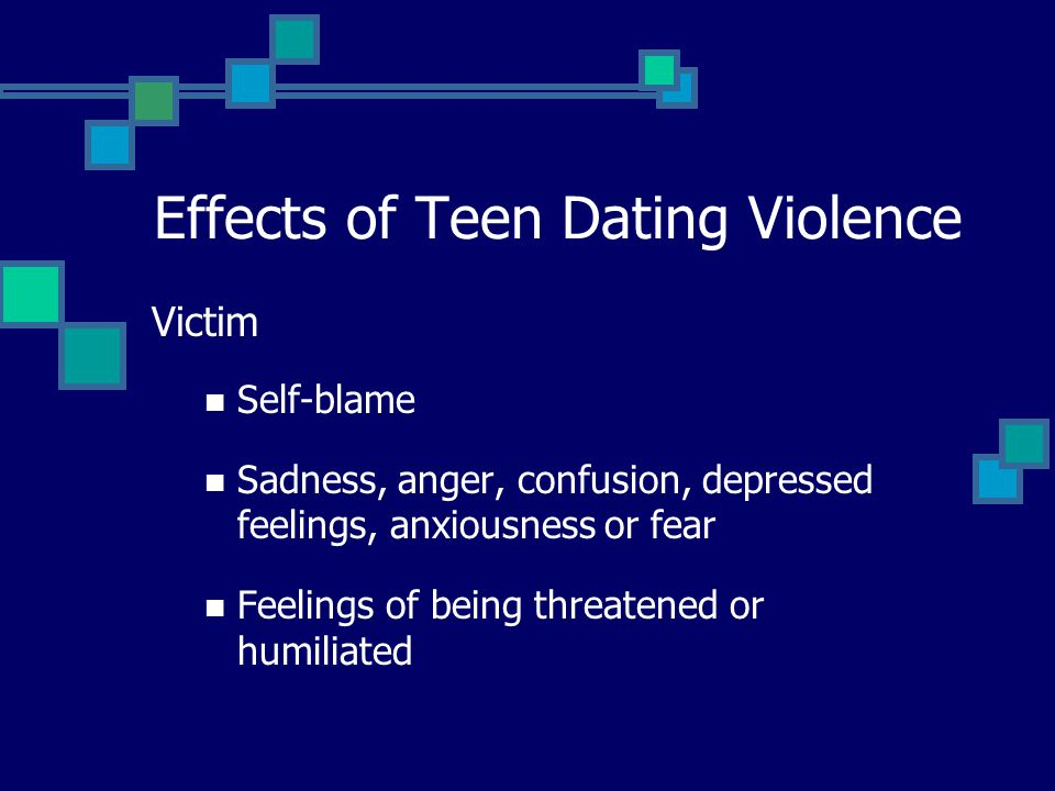 Victim Self-blame Sadness, anger, confusion, depressed feelings, anxiousness or fear Feelings of being threatened or humiliated Effects of Teen Dating