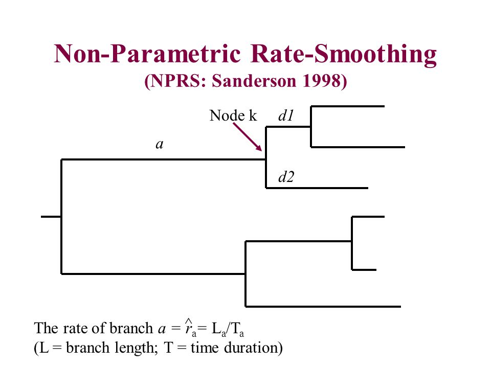 Non-Parametric Rate-Smoothing (NPRS: Sanderson 1998) a d1 d2 The rate of branch a = r a = L a /T a (L = branch length; T = time duration) ^ Node k