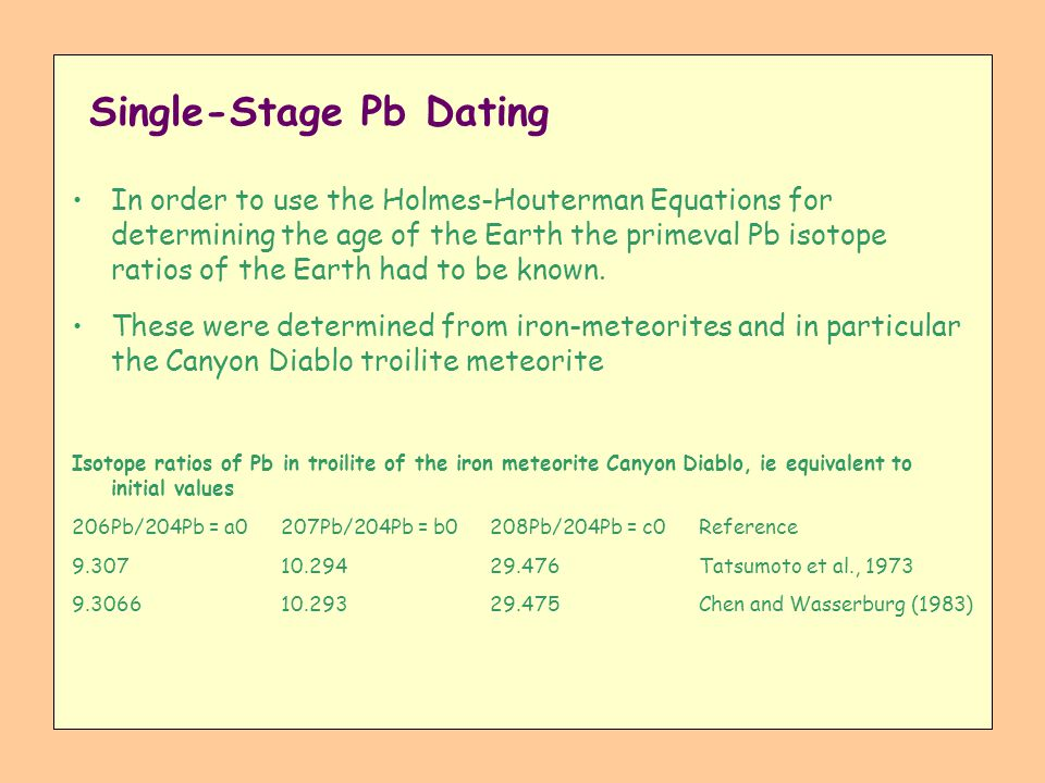 Single-Stage Pb Dating In order to use the Holmes-Houterman Equations for determining the age of the Earth the primeval Pb isotope ratios of the Earth
