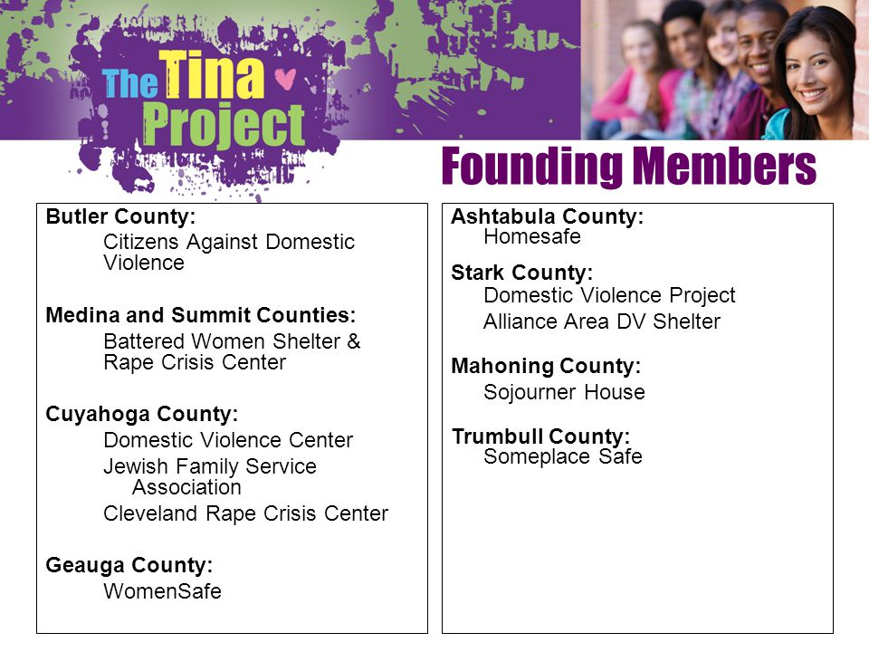 Founding Members Butler County: Citizens Against Domestic Violence Medina and Summit Counties: Battered Women Shelter & Rape Crisis Center Cuyahoga Co