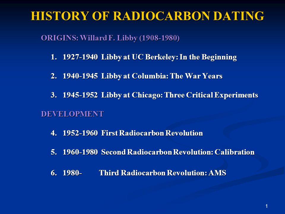 1 HISTORY OF RADIOCARBON DATING ORIGINS: Willard F.