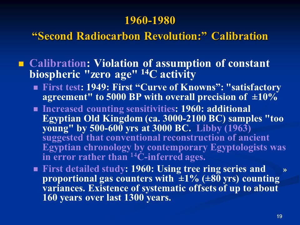19 1960-1980 Second Radiocarbon Revolution: Calibration Calibration: Violation of assumption of constant biospheric zero age 14 C activity First test: 1949: First Curve of Knowns: satisfactory agreement to 5000 BP with overall precision of ±10% Increased counting sensitivities: 1960: additional Egyptian Old Kingdom (ca.