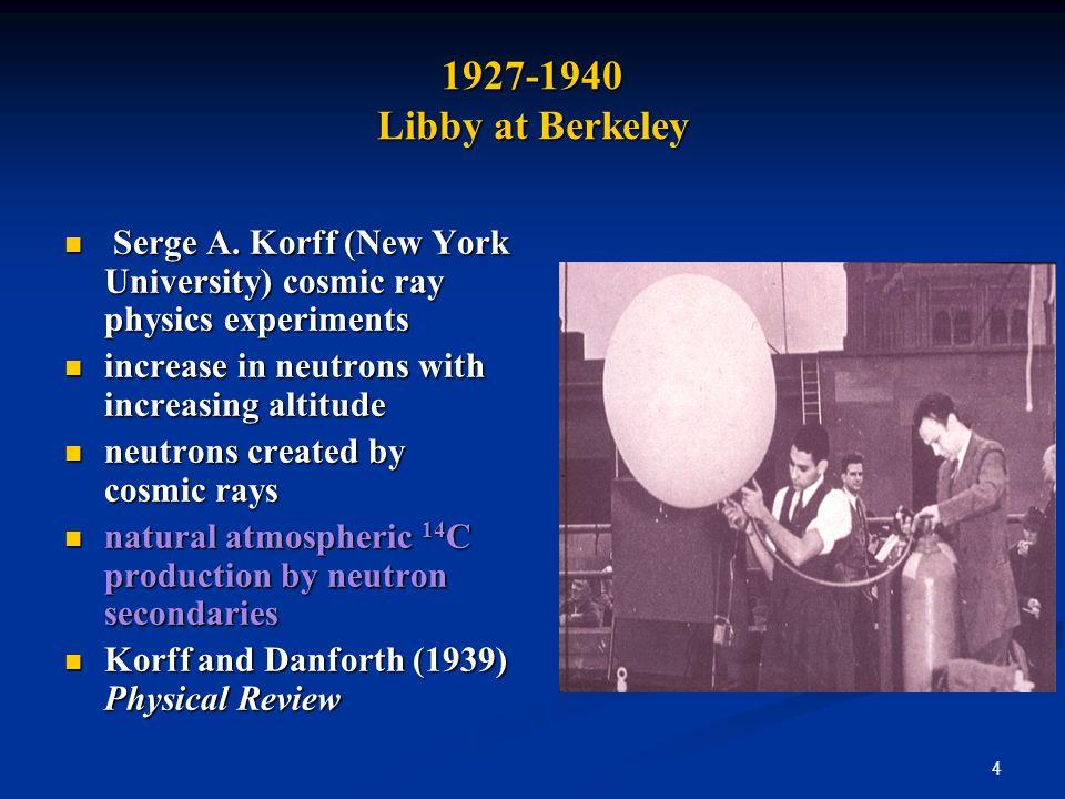 4 1927-1940 Libby at Berkeley Serge A. Korff (New York University) cosmic ray physics experiments Serge A. Korff (New York University) cosmic ray phys