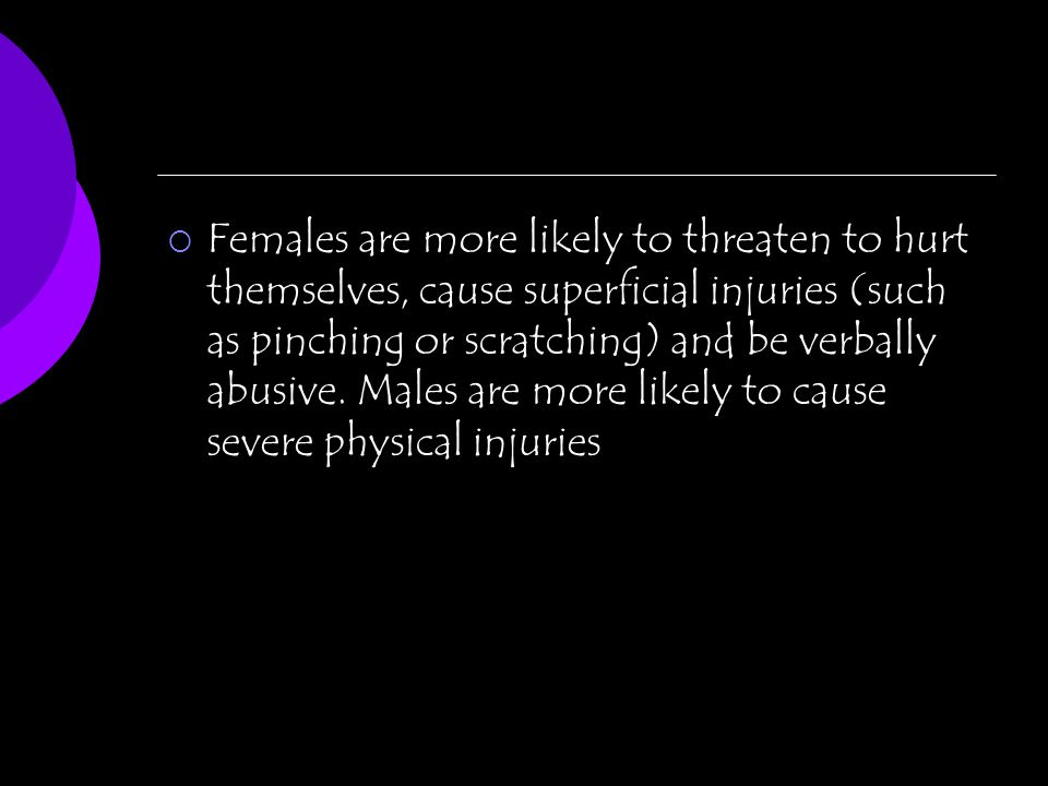 Females are more likely to threaten to hurt themselves, cause superficial injuries (such as pinching or scratching) and be verbally abusive. Males are