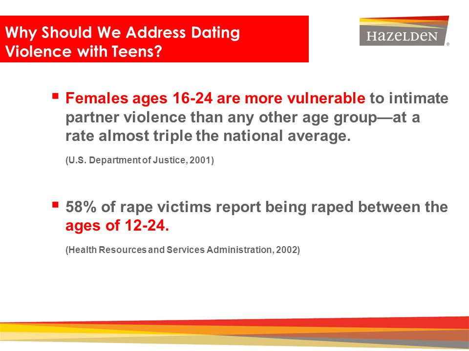 Closing Females ages 16-24 are more vulnerable to intimate partner violence than any other age groupat a rate almost triple the national average. (U.S