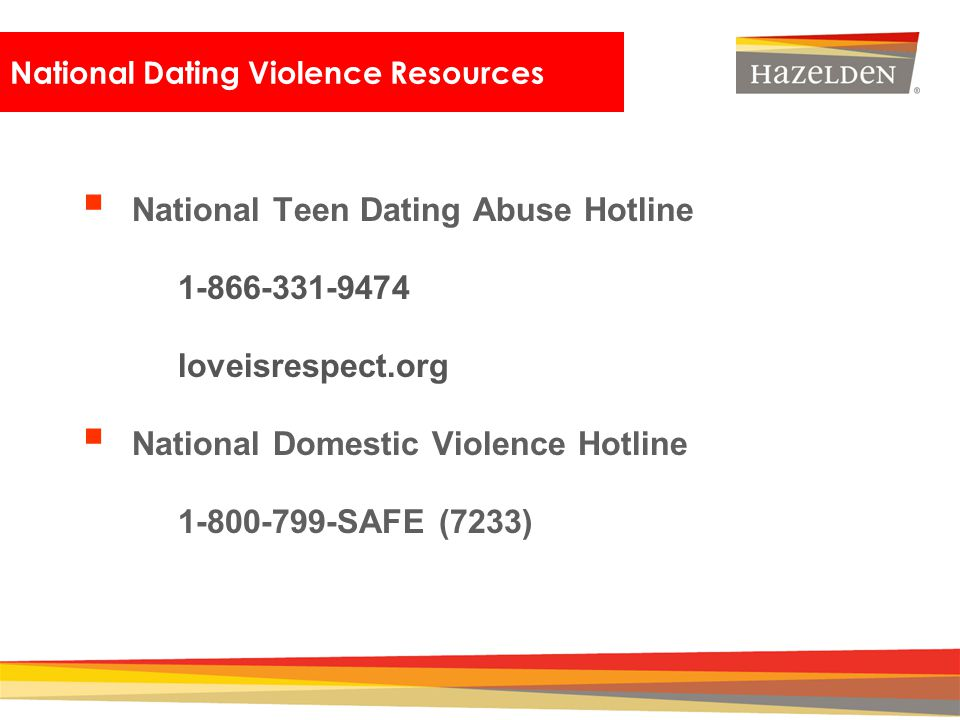 Closing National Dating Violence Resources National Teen Dating Abuse Hotline 1-866-331-9474 loveisrespect.org National Domestic Violence Hotline 1-80