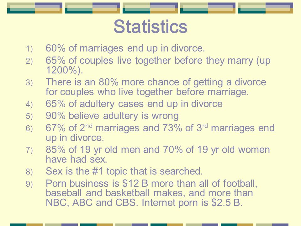 Statistics 1) 60% of marriages end up in divorce.