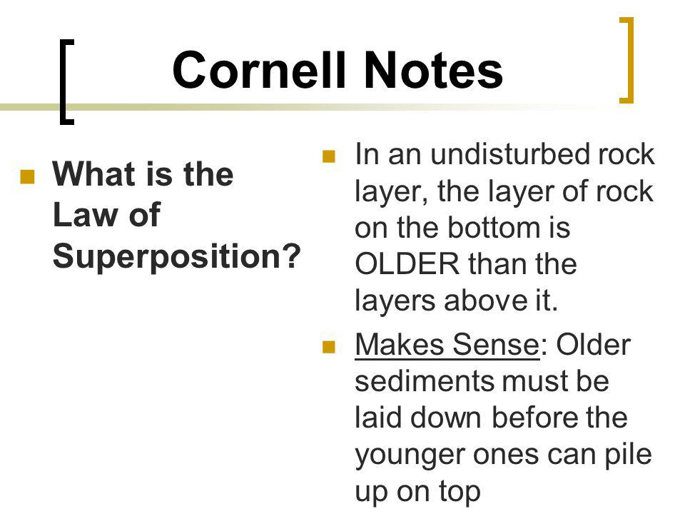 Cornell Notes What is the Law of Superposition.