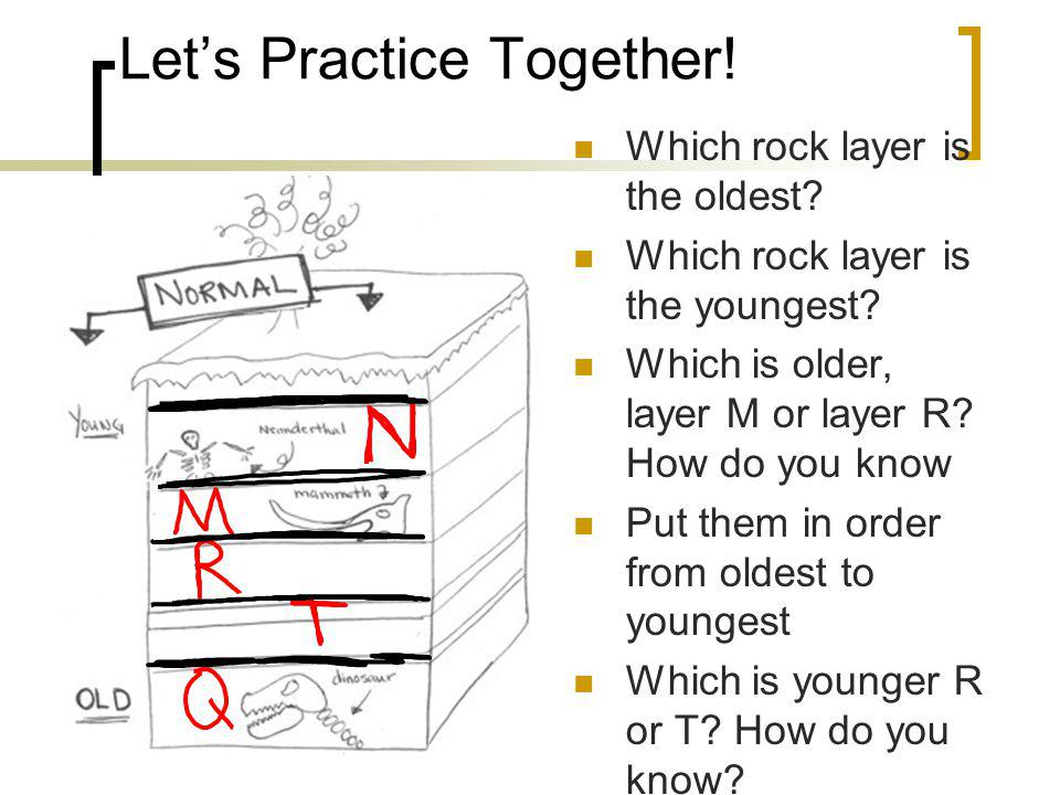 Lets Practice Together.Which rock layer is the oldest.