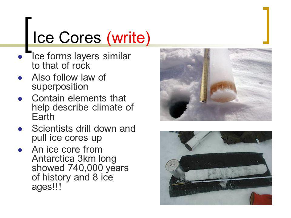Ice Cores (write) Ice forms layers similar to that of rock Also follow law of superposition Contain elements that help describe climate of Earth Scientists drill down and pull ice cores up An ice core from Antarctica 3km long showed 740,000 years of history and 8 ice ages!!!