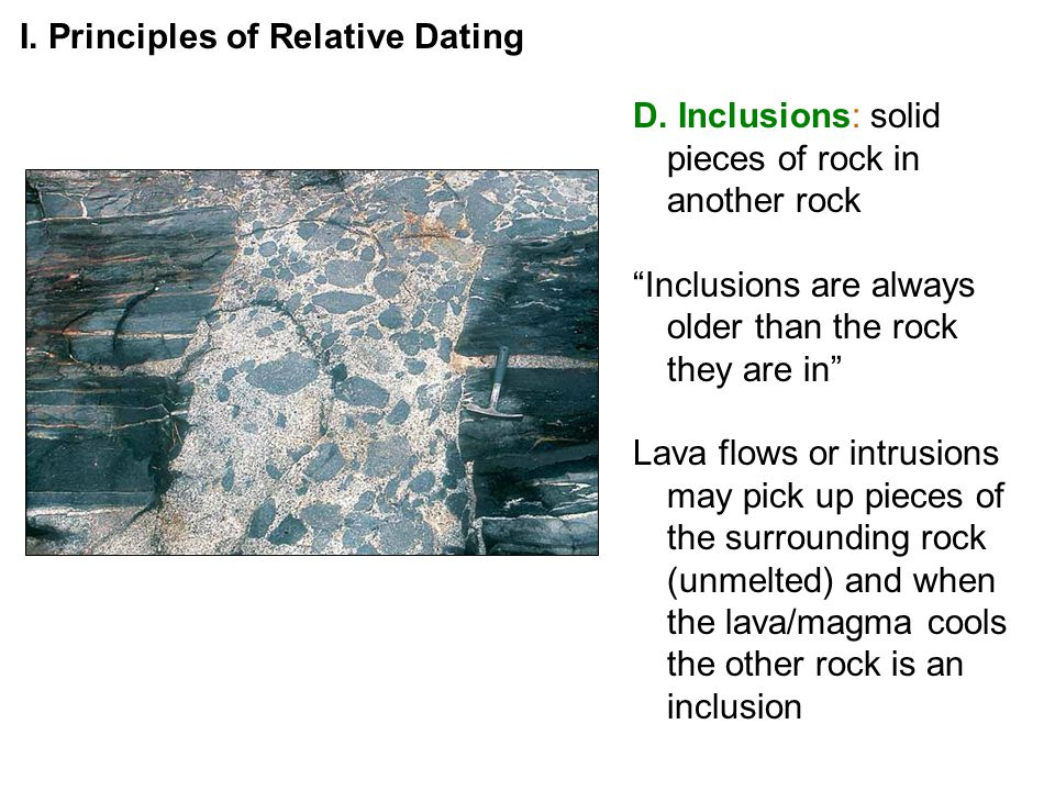 D. Inclusions: solid pieces of rock in another rock Inclusions are always older than the rock they are in Lava flows or intrusions may pick up pieces