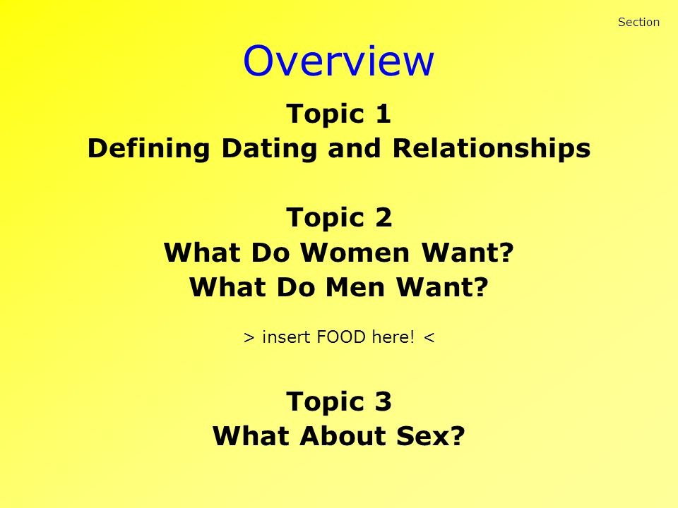 Overview Topic 1 Defining Dating and Relationships Topic 2 What Do Women Want? What Do Men Want? > insert FOOD here! < Topic 3 What About Sex? Section