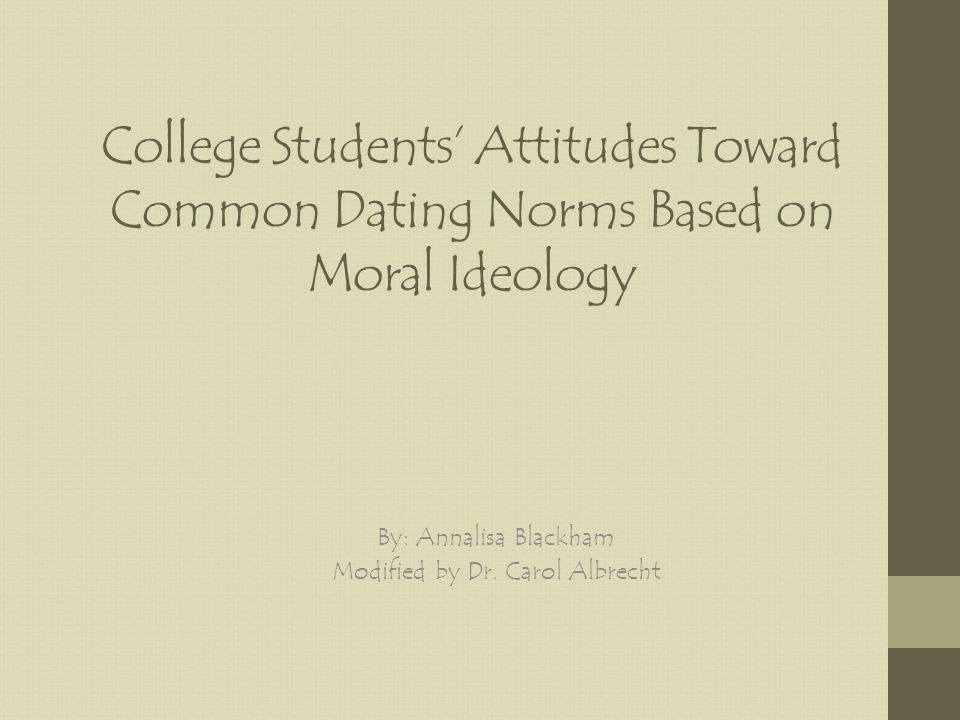 College Students Attitudes Toward Common Dating Norms Based on Moral Ideology By: Annalisa Blackham Modified by Dr.