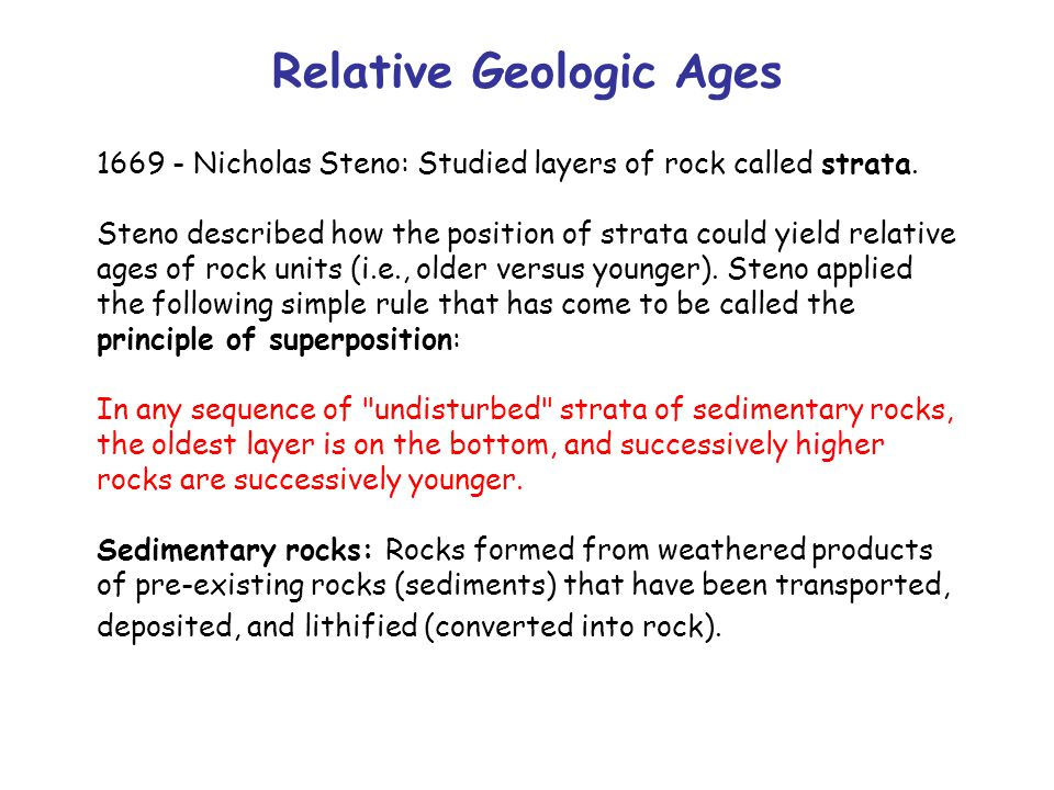 Relative Geologic Ages 1669 - Nicholas Steno: Studied layers of rock called strata.