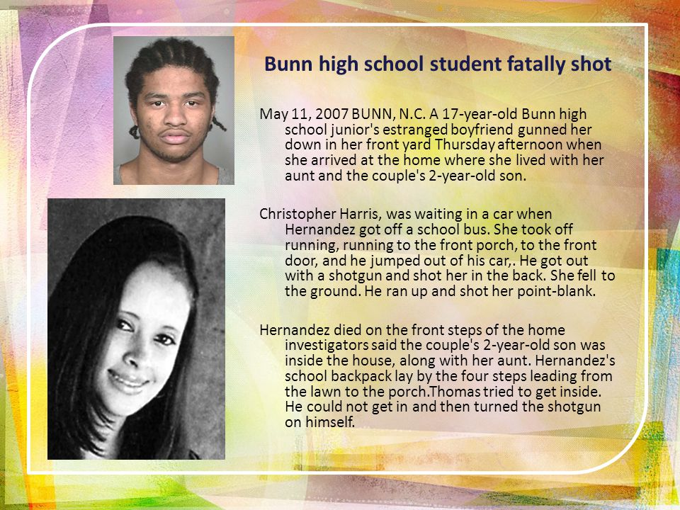 Bunn high school student fatally shot May 11, 2007 BUNN, N.C.