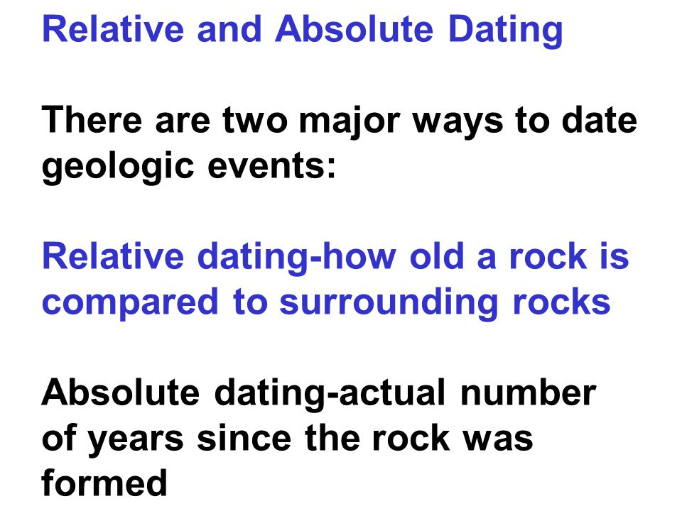 Relative Dating The various relative dating methods tell you whether a specific rock or layer of rocks is younger or older as compared to surrounding rocks This type of dating does not give an exact age for the rock