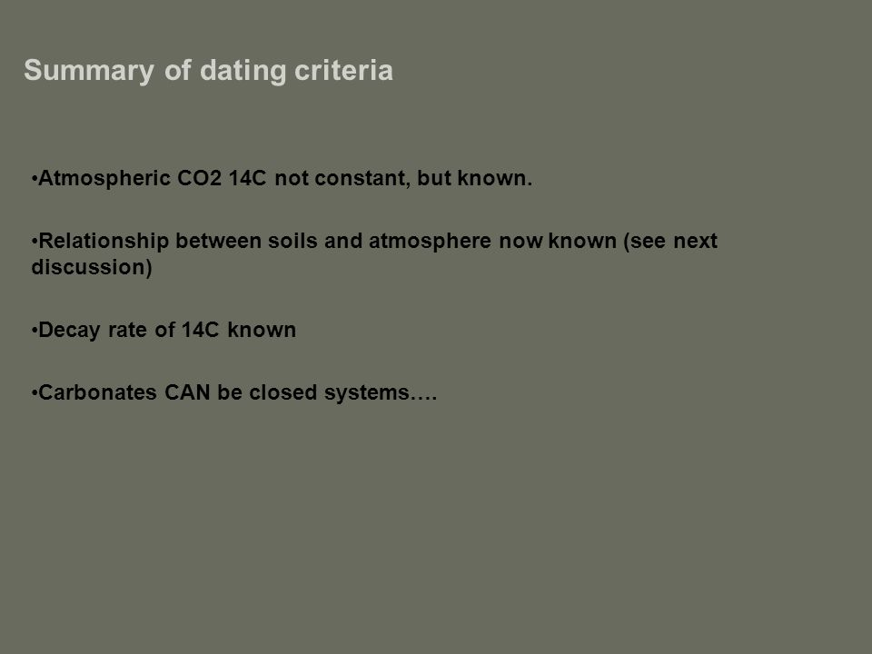 Summary of dating criteria Atmospheric CO2 14C not constant, but known. Relationship between soils and atmosphere now known (see next discussion) Deca
