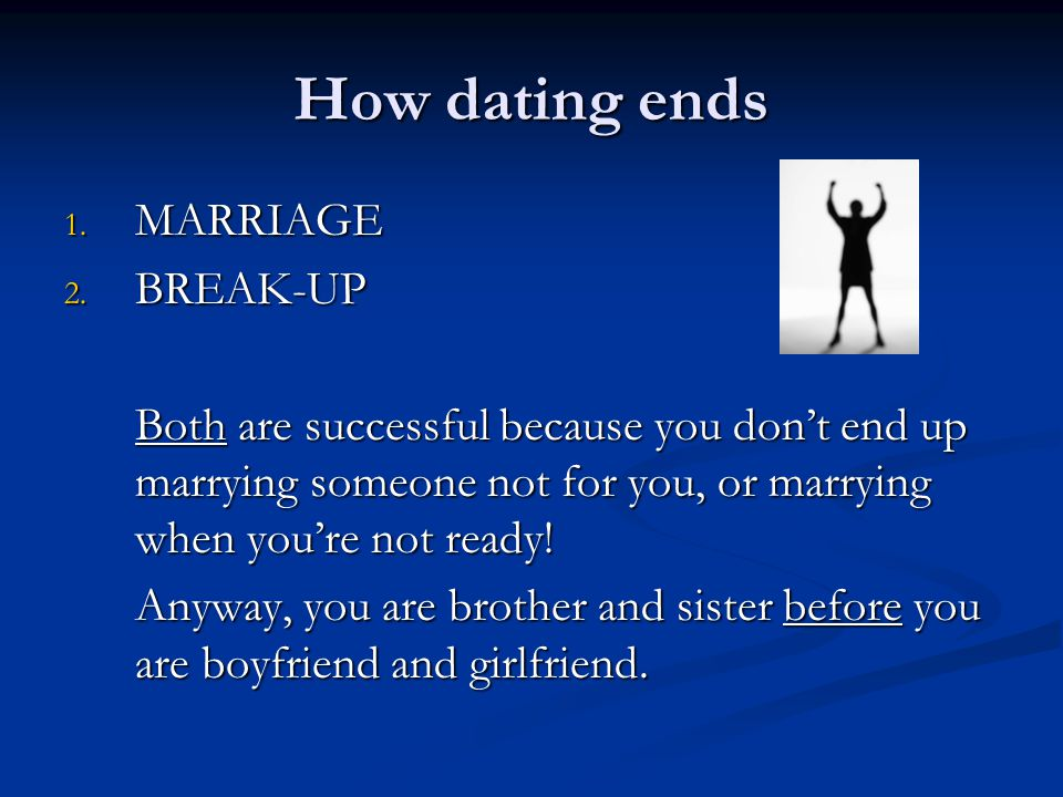 How dating ends 1. MARRIAGE 2.