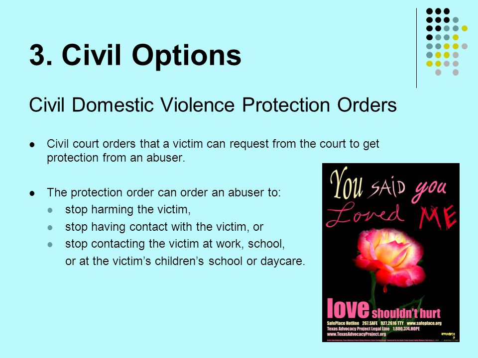 3. Civil Options Civil Domestic Violence Protection Orders Civil court orders that a victim can request from the court to get protection from an abuse