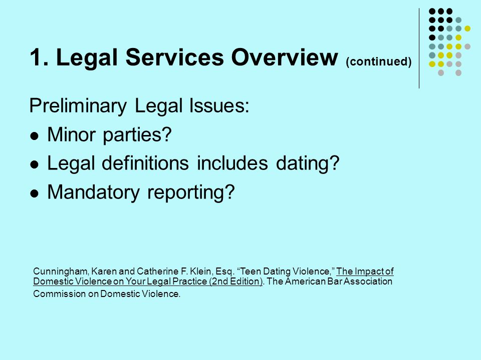 1.Legal Services Overview (continued) Preliminary Legal Issues: Minor parties.