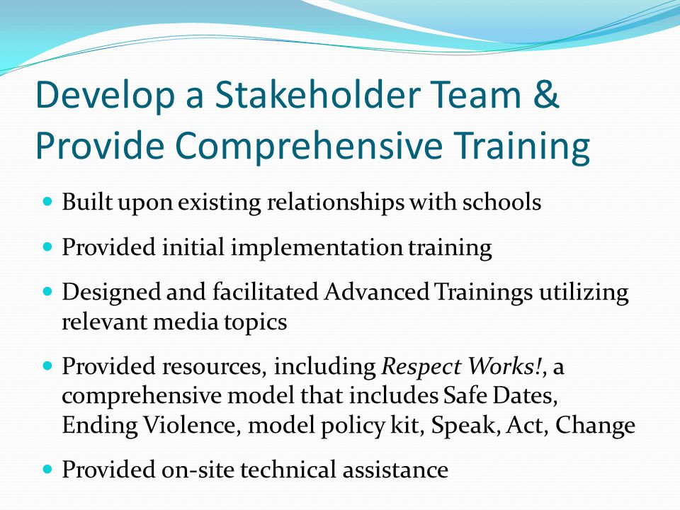 Develop a Stakeholder Team & Provide Comprehensive Training Built upon existing relationships with schools Provided initial implementation training Designed and facilitated Advanced Trainings utilizing relevant media topics Provided resources, including Respect Works!, a comprehensive model that includes Safe Dates, Ending Violence, model policy kit, Speak, Act, Change Provided on-site technical assistance