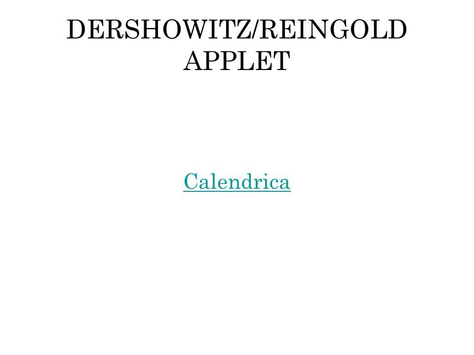DERSHOWITZ/REINGOLD APPLET Calendrica