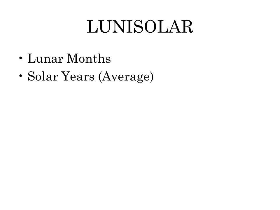 LUNISOLAR Lunar Months Solar Years (Average)