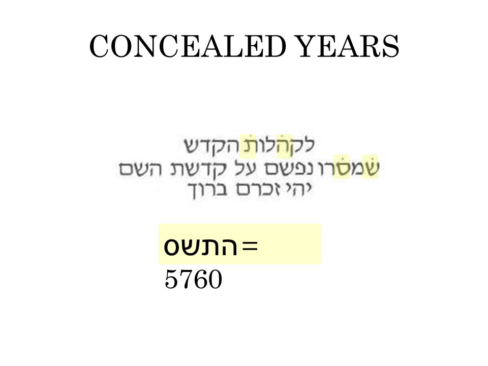 CONCEALED YEARS התשס = 5760