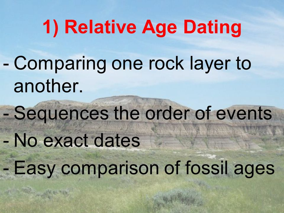 1) Relative Age Dating -Comparing one rock layer to another. -Sequences the order of events -No exact dates -Easy comparison of fossil ages