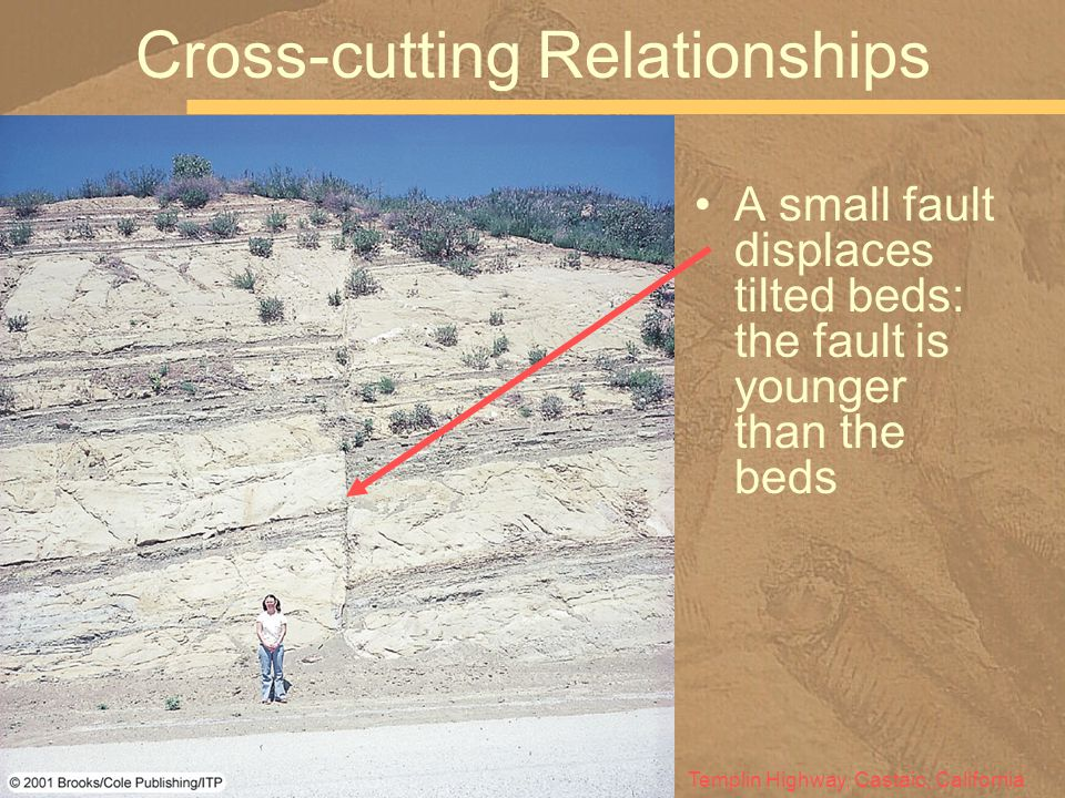 A small fault displaces tilted beds: the fault is younger than the beds Cross-cutting Relationships Templin Highway, Castaic, California