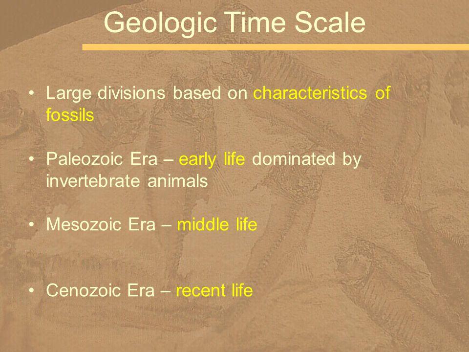 Large divisions based on characteristics of fossils Paleozoic Era – early life dominated by invertebrate animals Mesozoic Era – middle life Cenozoic Era – recent life Geologic Time Scale