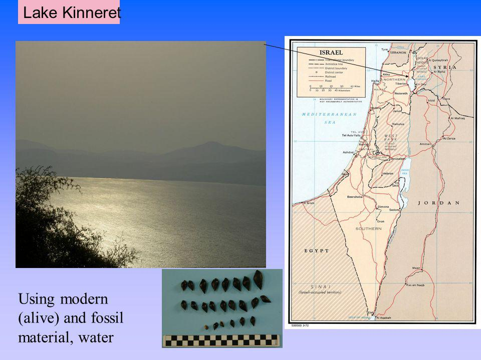 Lake Kinneret Using modern (alive) and fossil material, water