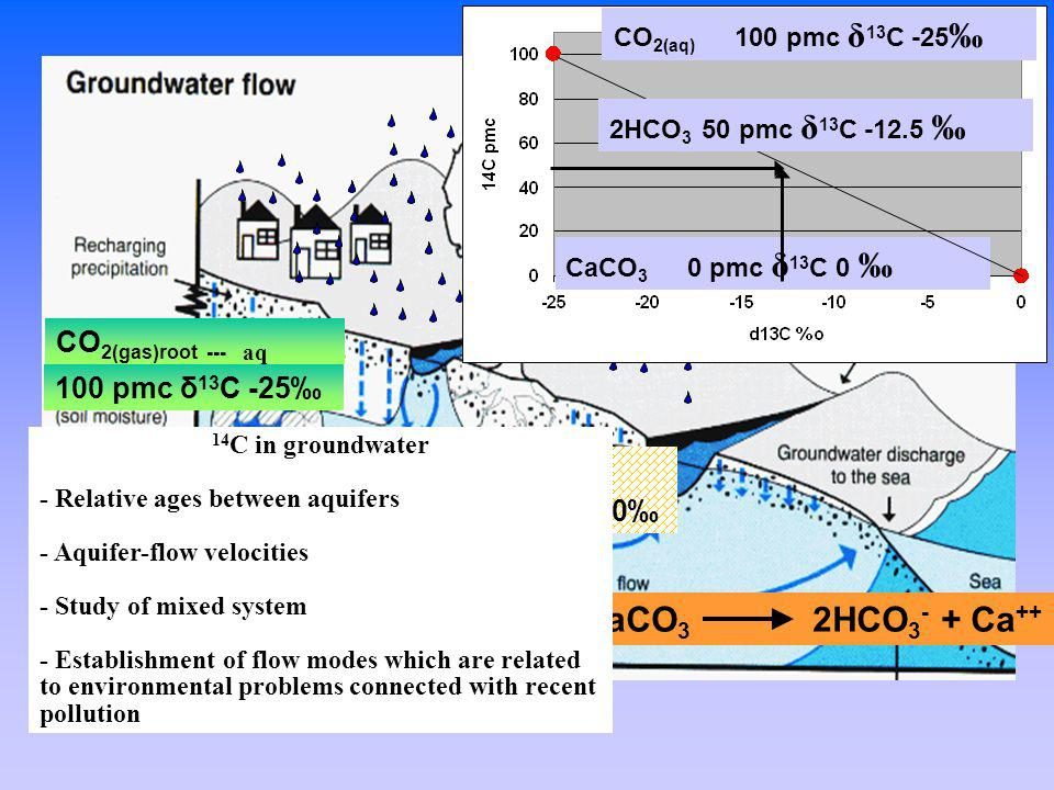 How does carbon and radiocarbon get in the groundwater? CO 2(gas)root --- aq CaCO 3 CO 2(aq) +H 2 O+CaCO 3 2HCO 3 - + Ca ++ CO 2(aq) 100 pmc δ 13 C -2