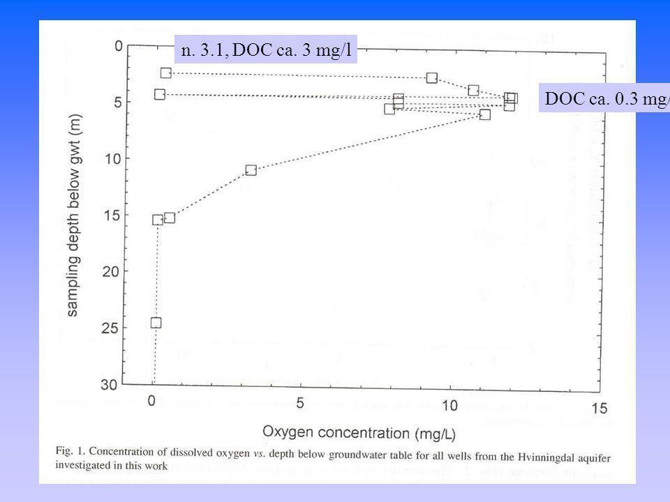 n. 3.1, DOC ca. 3 mg/l DOC ca. 0.3 mg/l