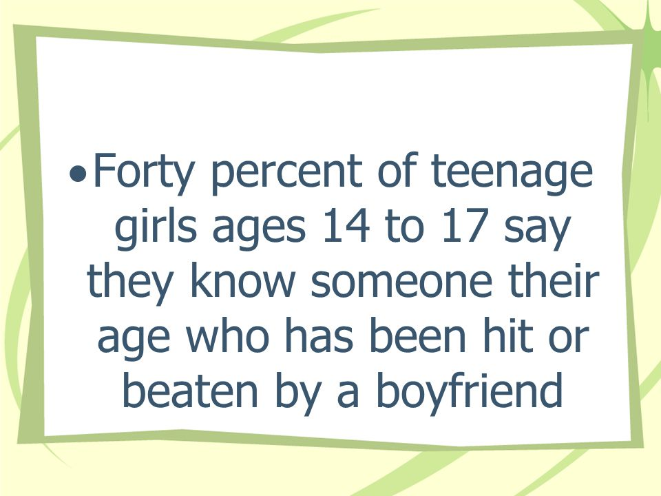 Forty percent of teenage girls ages 14 to 17 say they know someone their age who has been hit or beaten by a boyfriend