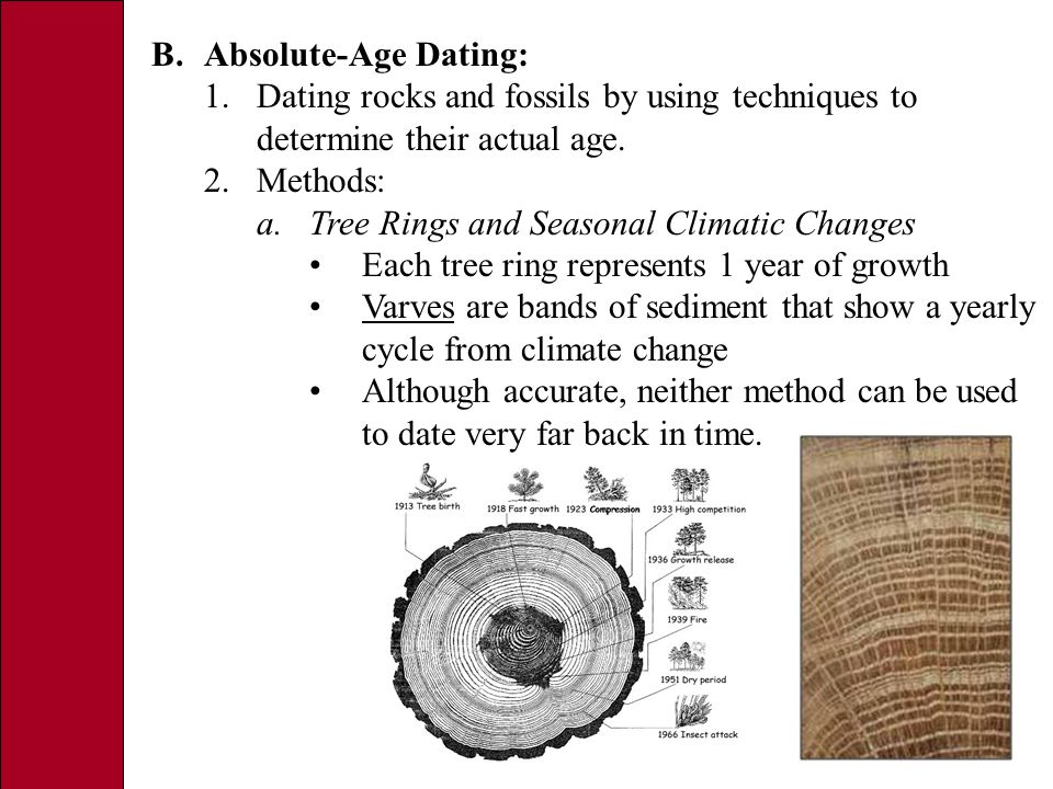 B.Absolute-Age Dating: 1.Dating rocks and fossils by using techniques to determine their actual age.