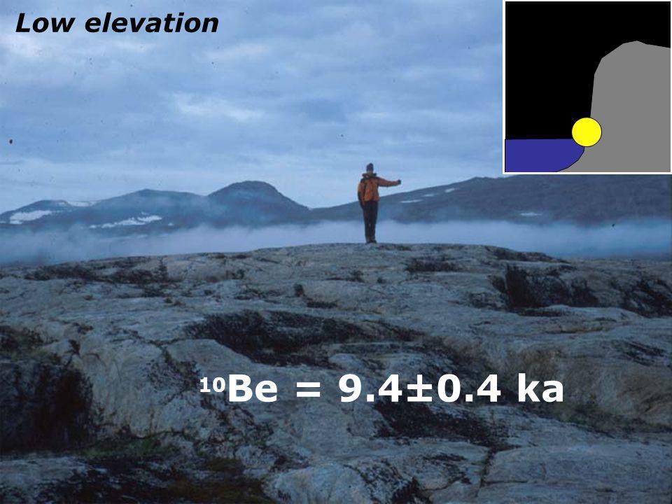 10 Be = 9.4±0.4 ka Low elevation